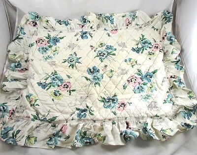 2 Floral Print Ruffled Quilted Pillow Shams Pansies Vintage