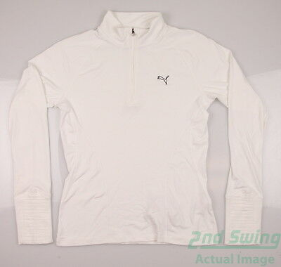 New Womens Puma Baselayer Golf 1/4 Zip Pullover Small White 569077 MSRP $65