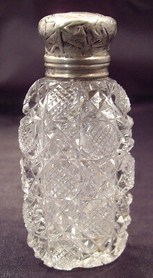 American Brilliant cut glass Perfume with sterling silver hinged lid
