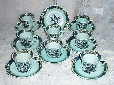 EIGHT Adams Ming Toi English Ironstone Micratex Blue Demitasse Cups & Saucers