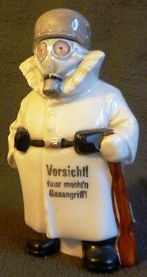 Antique SCARY WWI GAS MASK ATTACK German soldier Figural Bottle flask decanter