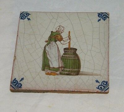 Vintage Delft Makkum ? Clay Tile Woman Churning Butter Red Clay 19723