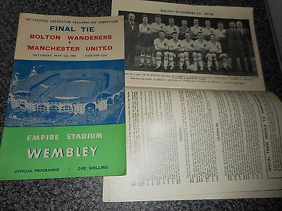 1958 F A CUP FINAL :  BOLTON WANDERERS  v  MANCHESTER UNITED    MAY 3rd  #1 TEAM