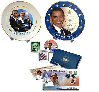 President Barack Obama Inaugural Plates and First Day Cover Coin Collection
