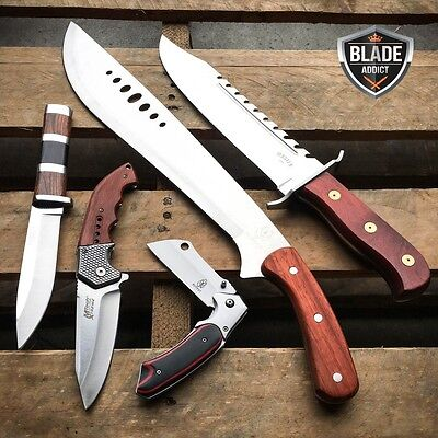 5 PC Hunting Tactical Survival Fixed Blade Machete Pocket Knife Camping Set Wood