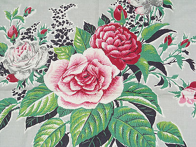 Vintage Barkcloth Remnant Beautiful Bouquet on grey light ground