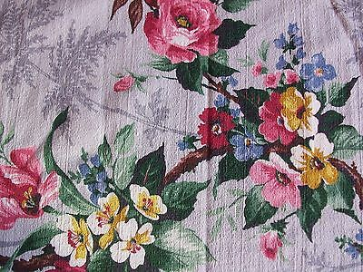"VINTAGE BARK CLOTH FABRIC DRAPERY PANEL ~ ENGLISH COTTAGE GARDEN ~ 22""x75"""