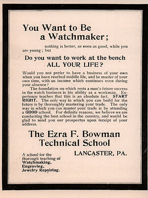 Ad Lot Of 3 1903 - 09 Ads Ezra Bowman Technical School Lancaster Watchmaker