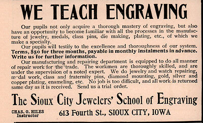 Early 1900 Ad  Sioux City Jewelers School Of Engraving
