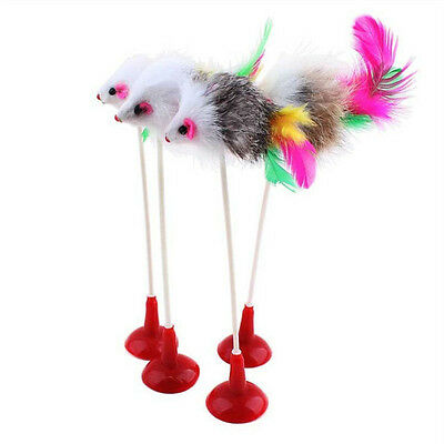 New Funny Pet Cat Toys Feather False Mouse Bottom Sucker Cat Kitten Playing Toy