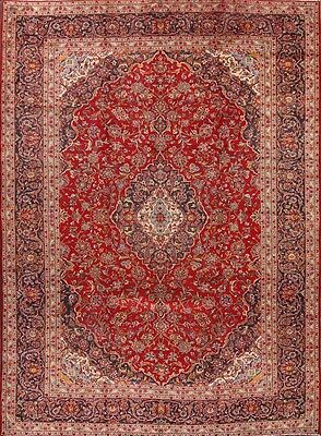 """Traditional Floral Red 10x13 Kashan Persian Oriental Area Rug 13' 5"""" x 9' 9"""""""