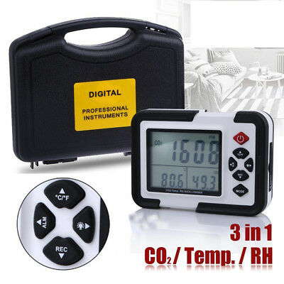 USB CO2 Carbon Dioxide Meter Air Temperature Humidity Data Logger Monitor Tester