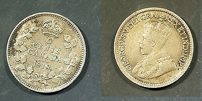 1918  Canada 5 cent SILVER -  Solid VG   stk#1s43