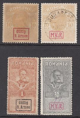 Romania German Occupation Revenues 4 diff stamps 1917-18 Barefoot cv $21