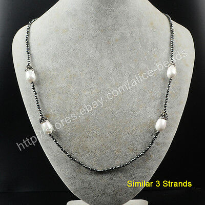 "3Pcs 25"" Drop White Shell Pearl With CZ Paved Black Beads Chain Necklace TJA391"