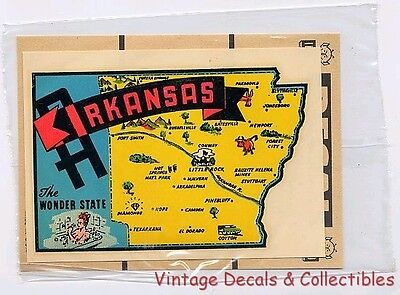 Vintage Arkansas State Wonder Girlie Pinup Impko Souvenir Travel Decal Water Mip