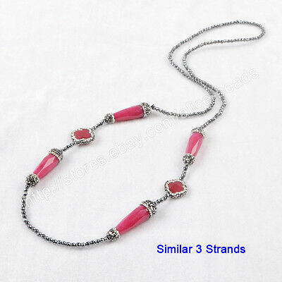 """3Pcs 30"""" Fuchsia Jade Faceted With CZ Paved Black Beads Chain Necklace TJA401"""