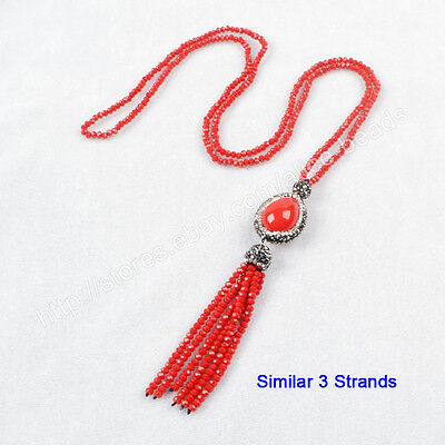 "3Pcs 28"" Red Shell Pearl CZ Paved Necklace With Quartz Beads Tassel Chain TJA405"