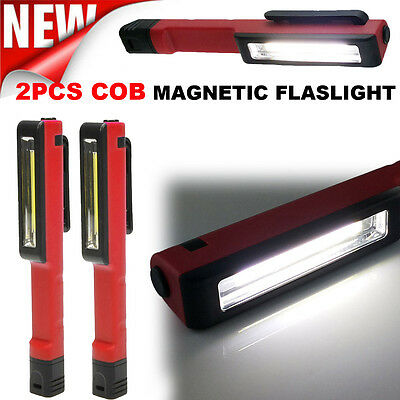 2 PCS Sterling Tools 350LM COB LED Pocket Flashlight w/ Magnetic Clip Torch lamp