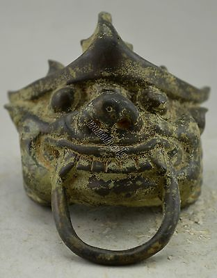 China Antique Collectible Decorate Bronze protect Exorcims cloth corselet Statue