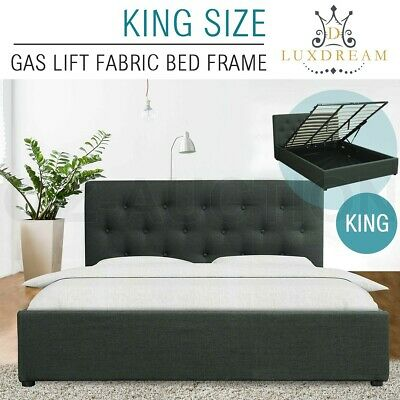 LUXDREAM GAS LIFT Storage King Size Charcoal Linen Fabric Bed Frame ...