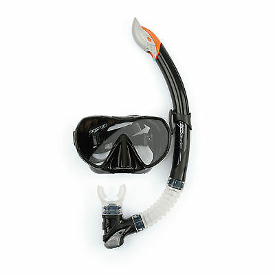 Osprey Avanced Dive Series Frameless Adults Silicone Mask and Snorkel Set Black