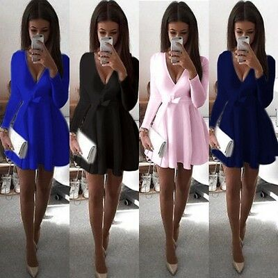 Sexy Fashion New Women Long Sleeve Party Evening Cocktail Party Short Mini Dress