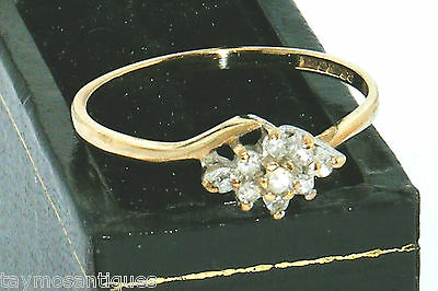 9k Gold 9ct Gold 0.10ct diamond cluster ring size L Hallmarked