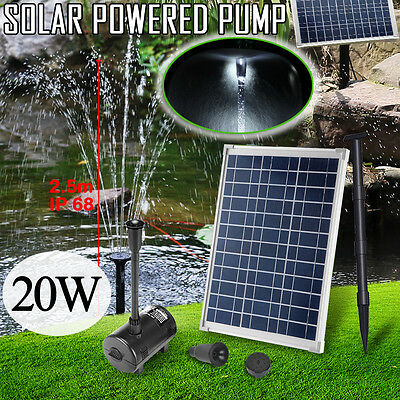 20W Solar Power Outdoor Pond Pool Fountain Water Feature Submersible Pump Kits