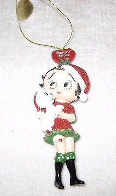 "BETTY BOOP Glitter.......Christmas Ornament SANTA'S HELPER...4.5"" H x 1.5"" W"