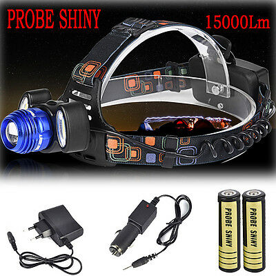 15000Lm Lumens 3x XM-L CREE T6 LED Rechargeable Head Torch Headlamp Lamp Light