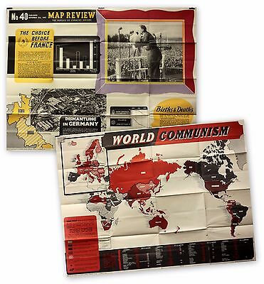 Old Large Vintage 1940s Poster World Communism Map Review 1947 Scarce