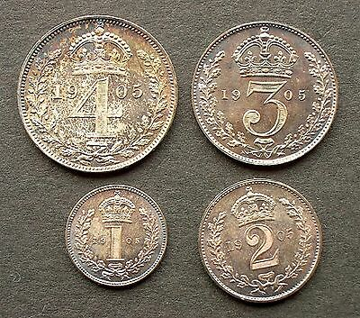 British - 1905  Four coin Maundy set in dated box