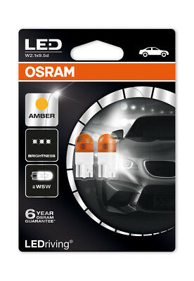 Osram LED 2000K Orange Amber WY5W (501) Wedge 12V 1W Indicator Bulbs 2855YE-02B