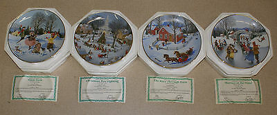 """Set of 4 DANBURY COLLECTOR PLATES """"Old Time Country Winter"""" CHARLOTTE STRENBERG"""