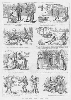 Victorian Colonial Life in the Tropics, The Old, Old Story - Antique Print 1887