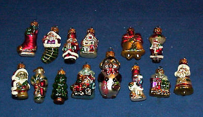 Glass Feather Tree Mixed Santa, Train + Christmas Ornaments Lot Of 14 Very Cute