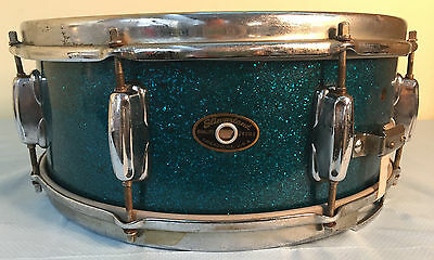 1950's Slingerland Radio King Snare Drum Aqua Blue Sparkle