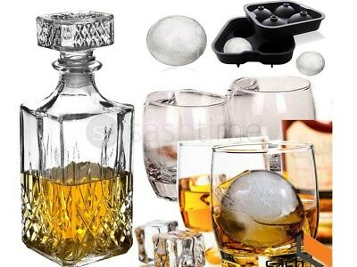 4 x GLASS WHISKEY WINE & SQUARE GLASS DECANTER BOTTLE + ICE BALL TRAY GIFT SET