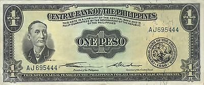 1949 1 One Peso Central Bank Of The Philippines Currency Banknote Note Bill Cash