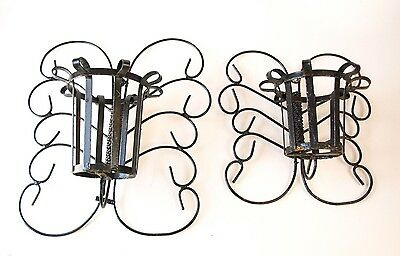 Pair Of Vintage Cast Wrought Iron Wall Hanging Sconce Candle Holder Medieval art