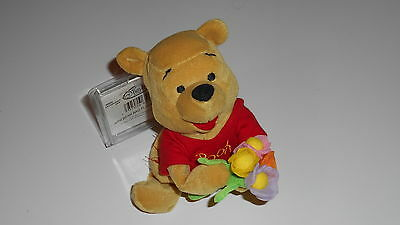 Disney Winnie the Pooh Flower Pooh holding Flowers SOFT TOY new with tag 8""