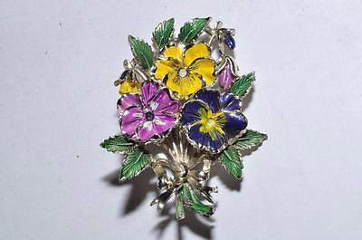 Beautiful Vintage Enamel Signed Exquisite Pansy Birthday Series Brooch