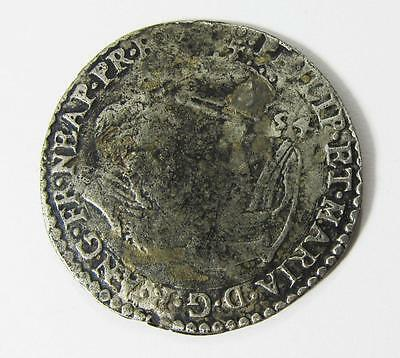 Hammered Silver Coin Philip & Mary Sixpence Dated 1554 Ad