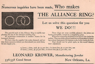 1907 Ad  Leonard Krower Mfg Jeweler New Orleans Alliance Ring Wedding