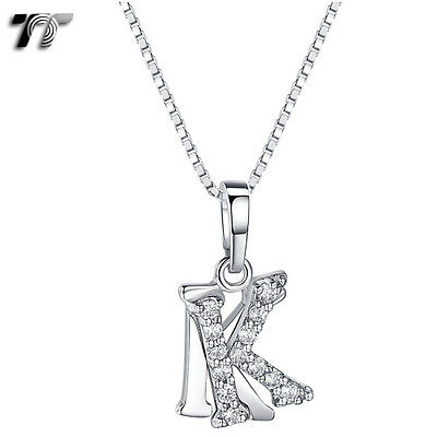 TT 18K White Gold GP Letter K Pendant Necklace With Box Chain (NP331K) NEW