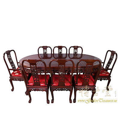 Chinese Antique Rosewood Dining Table w/8 Chairs set 16LP78