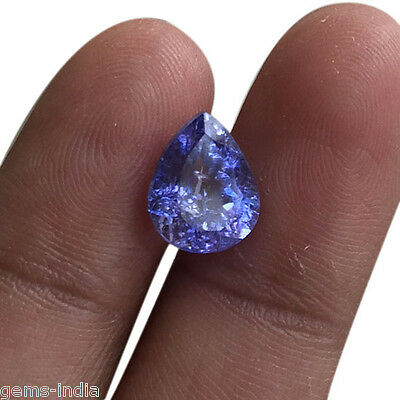Vvs 2.80 Cts Top Class Sparkling Untreated Natural Tanzanite Pear Cut For Ring