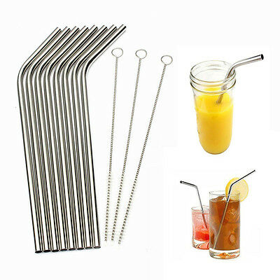 8Pc Stainless Steel Drinking Straw Straws Bent Reusable Washable With Brush New