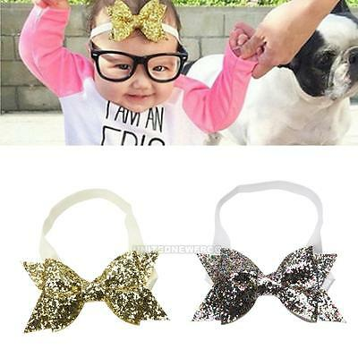Baby Girls Sequined Bow Glitter Elastic Hairband Headband Wrap Cute Accessories